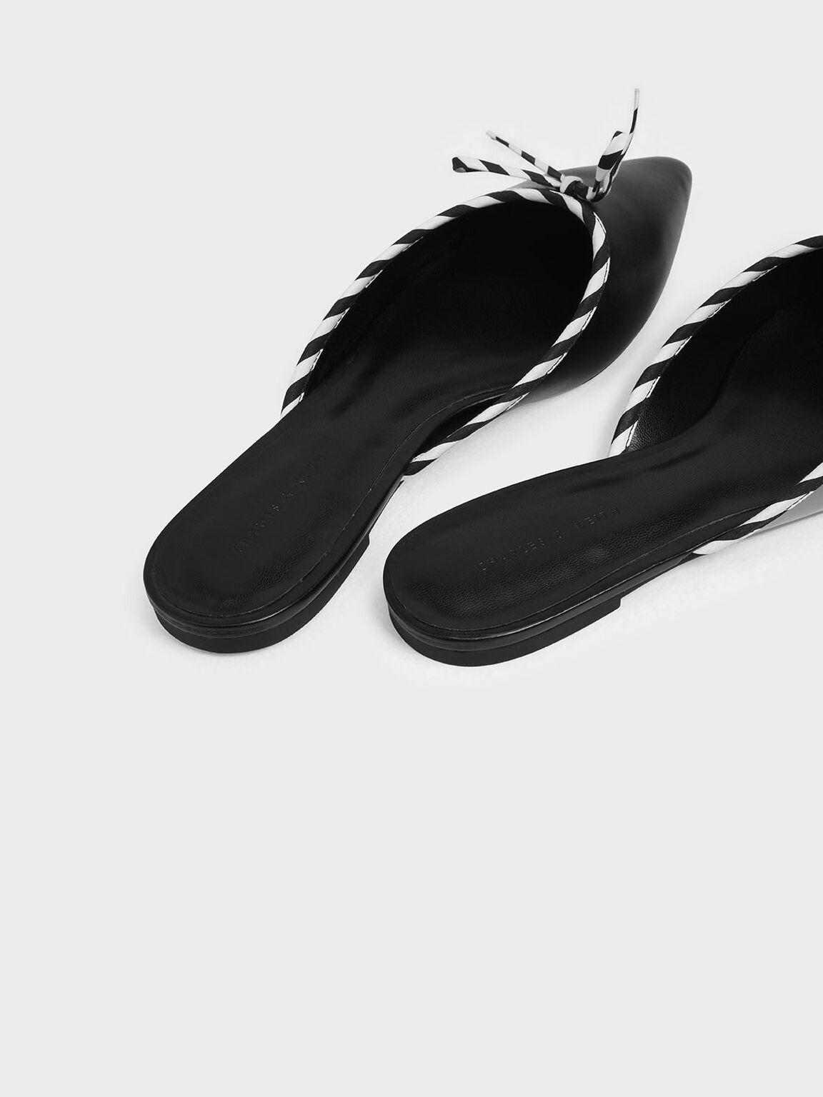 Bow Detail Mules, Black, hi-res