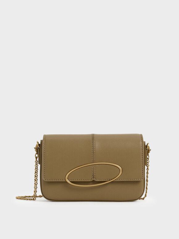 Metallic Ring Shoulder Bag, Olive, hi-res
