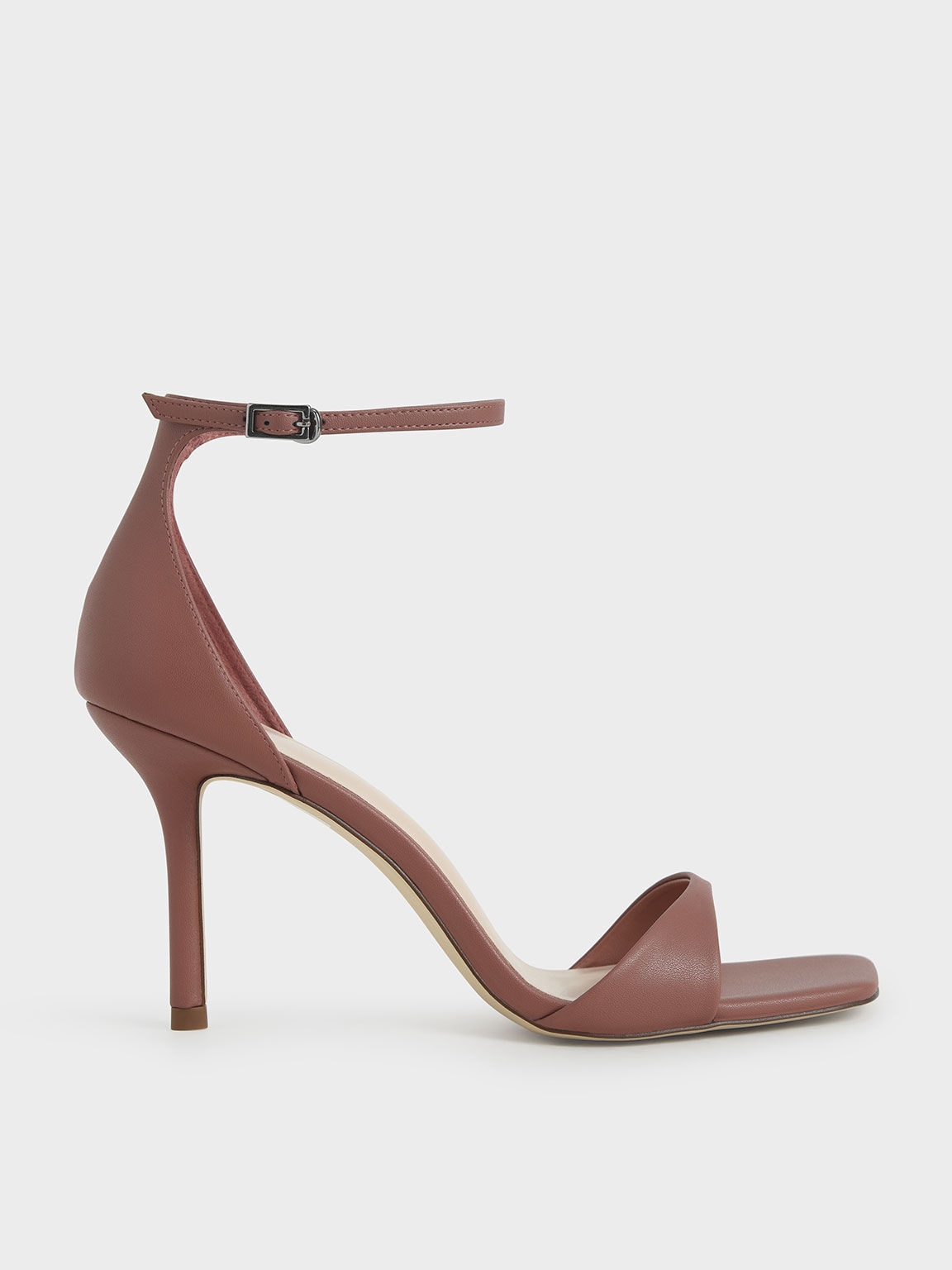 Ankle Strap Heeled Sandals, Brick, hi-res