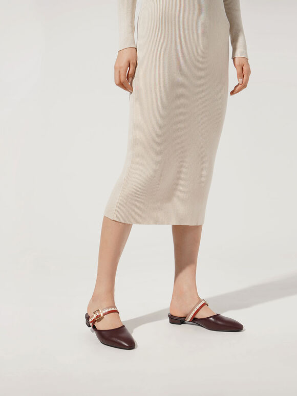 Studded Round Toe Mules, Brown, hi-res