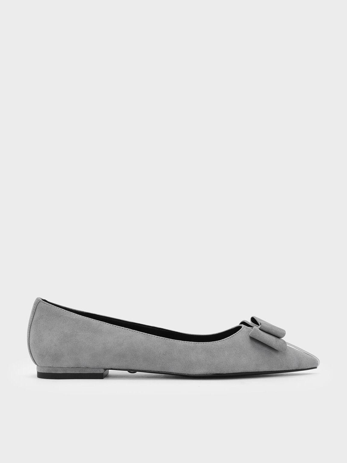 Bow Detail Suede Ballerinas, Grey, hi-res