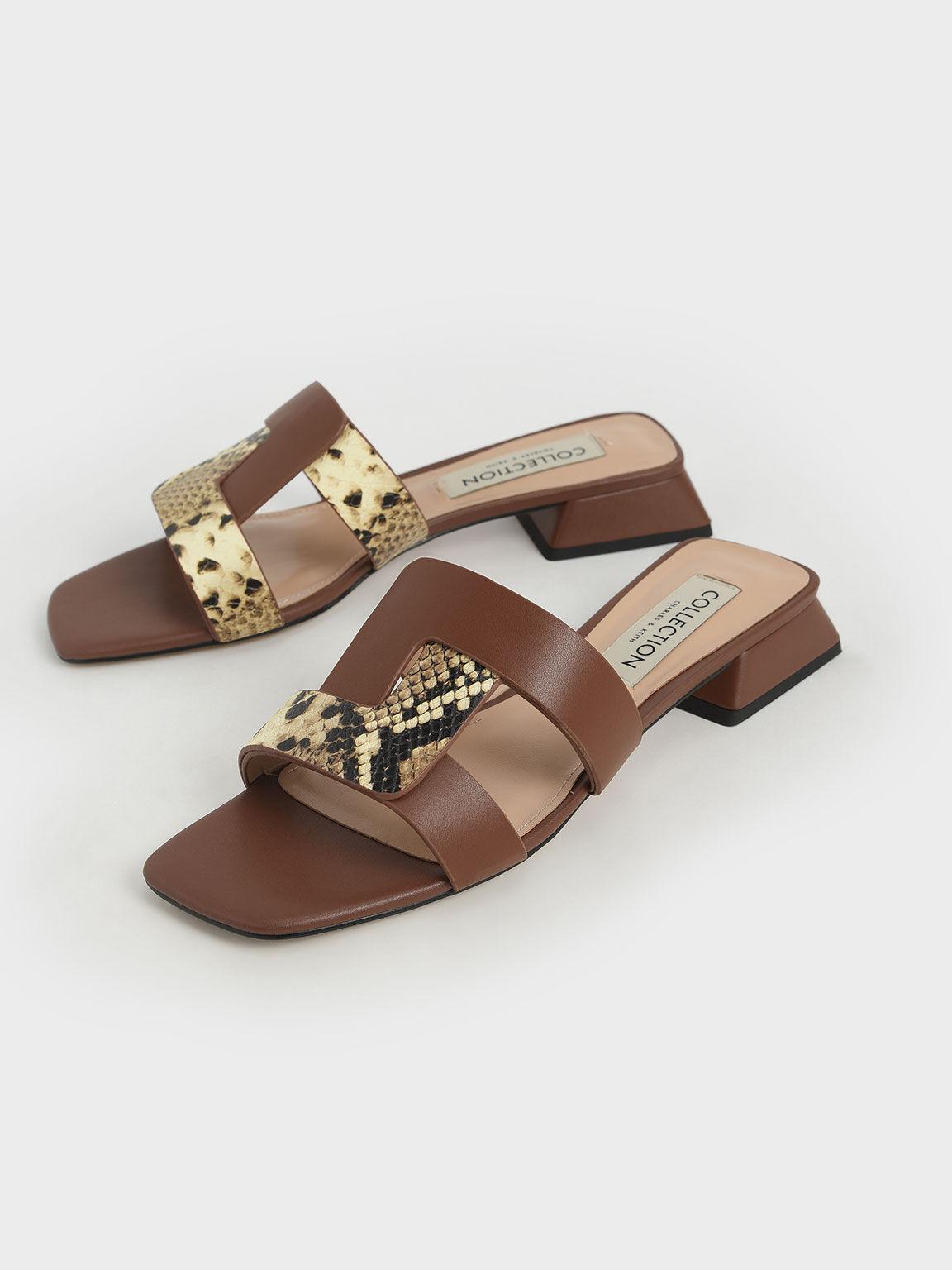 真皮造型方頭拖鞋, 咖啡色, hi-res