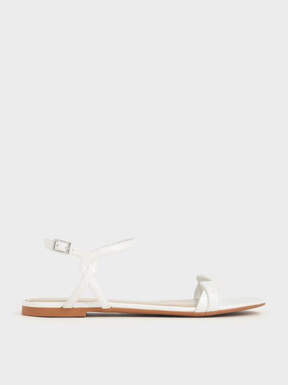 Croc-Effect Twist Strap Flats, White, hi-res