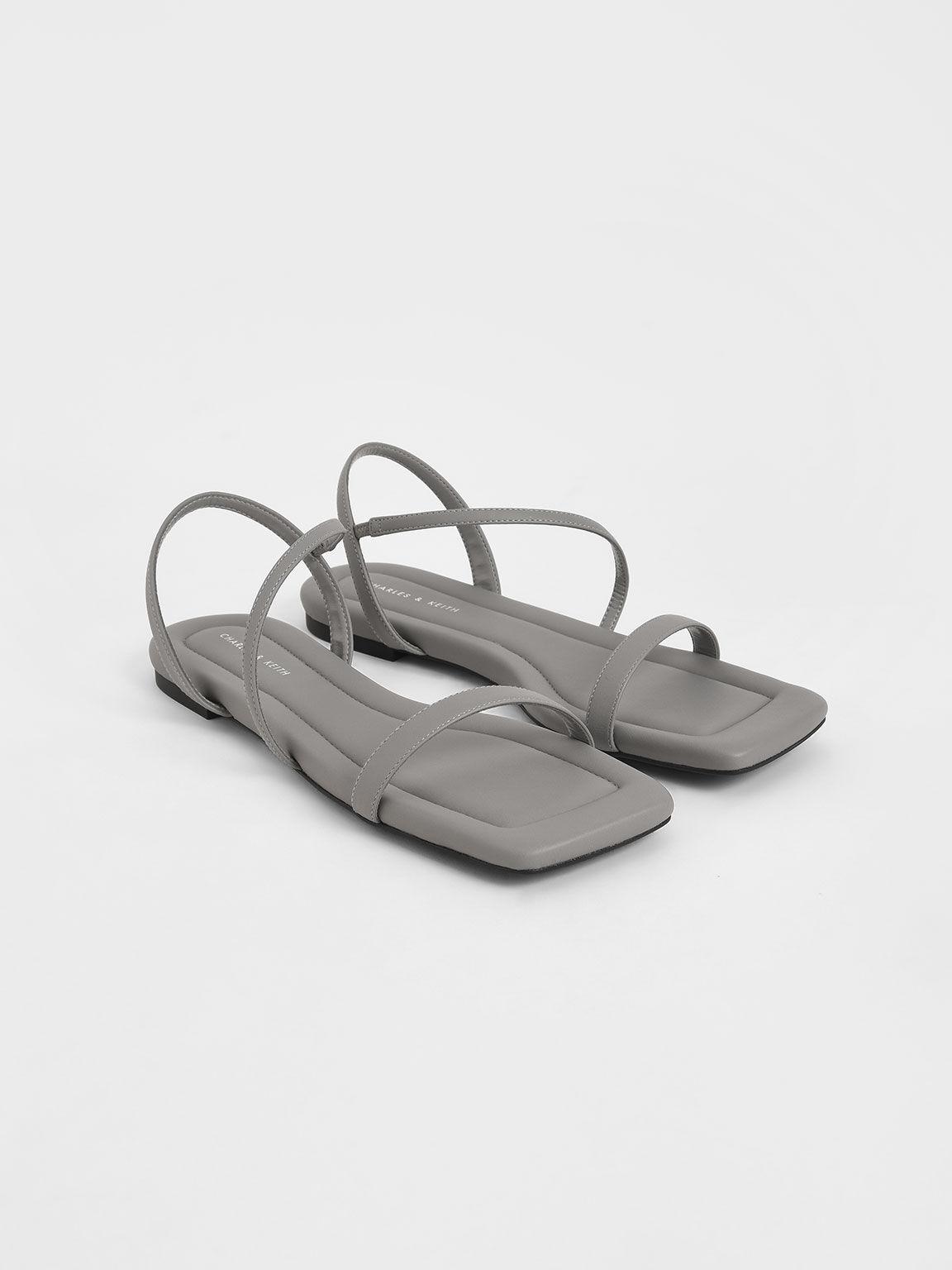 Strappy Flat Sandals, Grey, hi-res