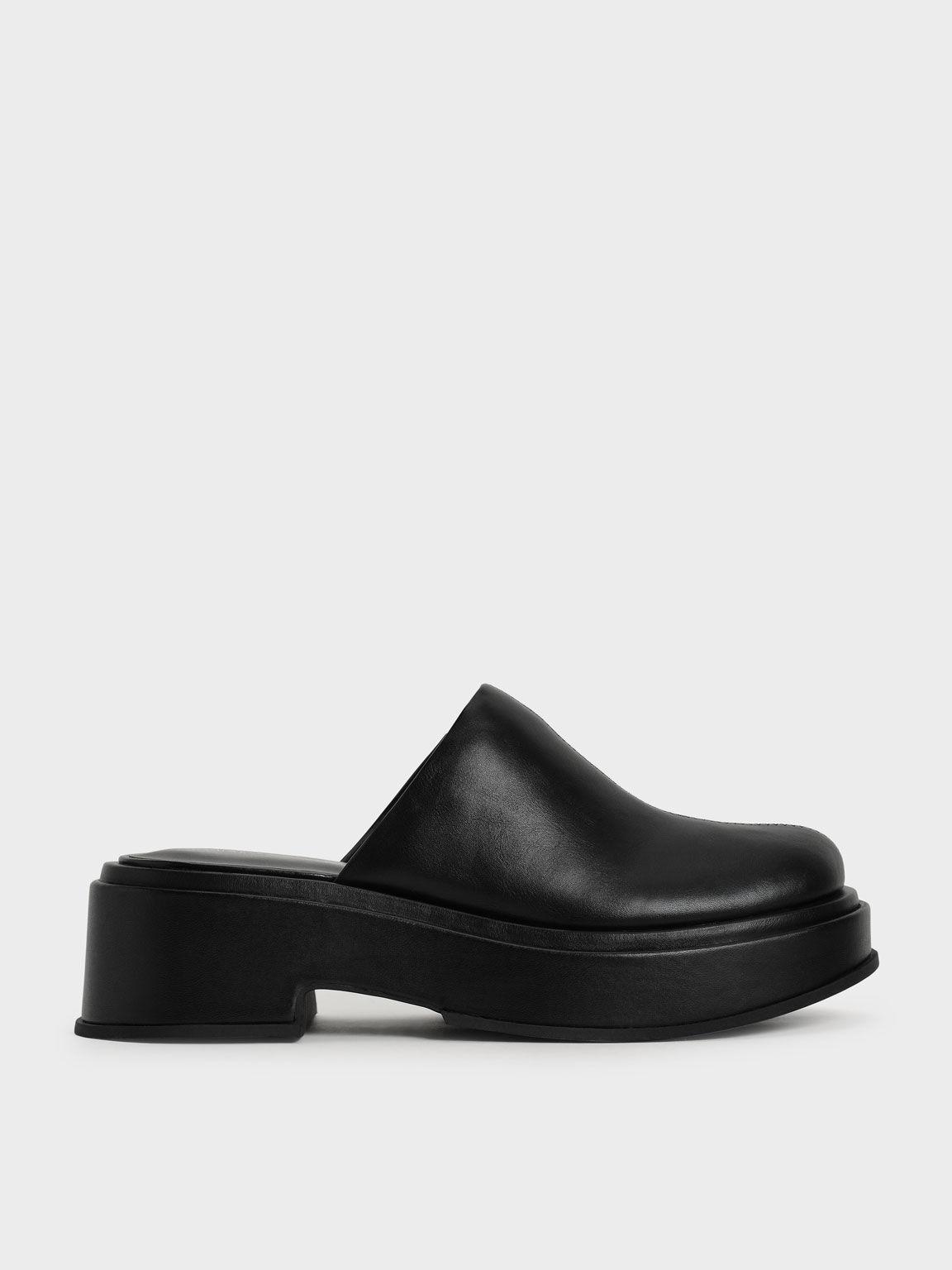 Platform Clogs, Black, hi-res