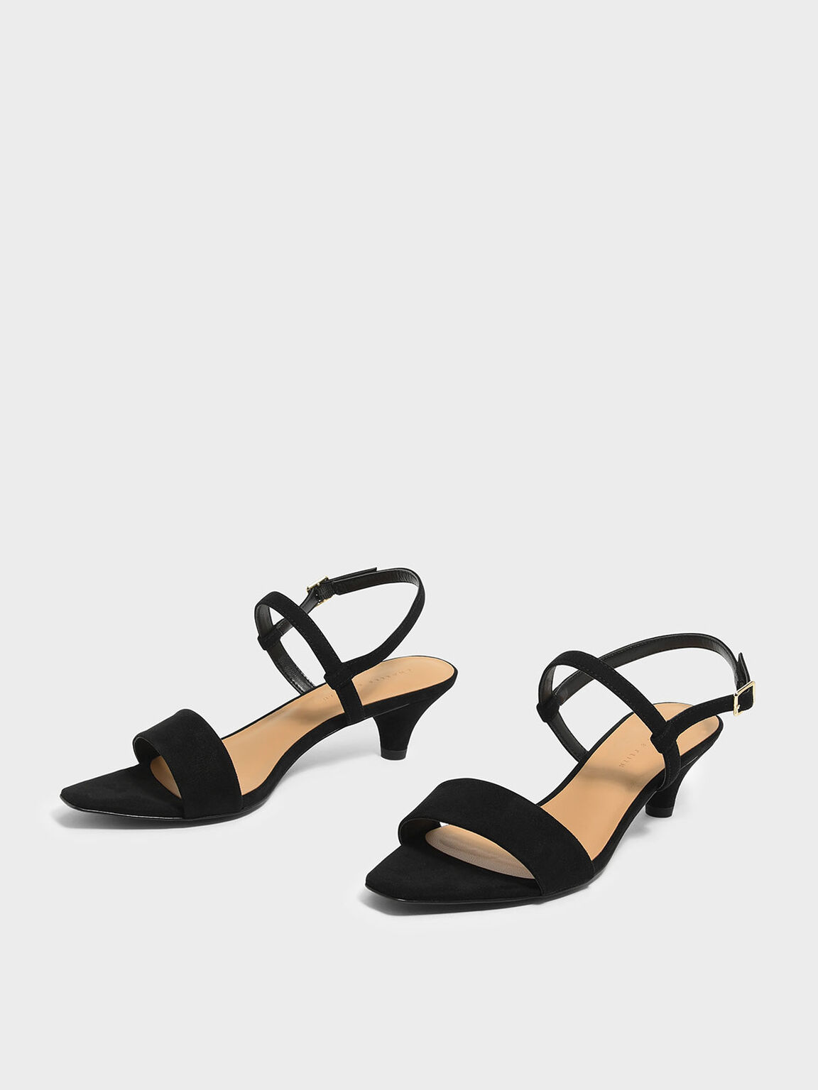 Mini Square Toe Heeled Sandals, Black, hi-res