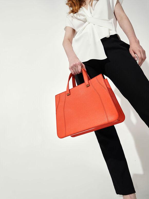 Double Top Handle Tote Bag, Orange, hi-res