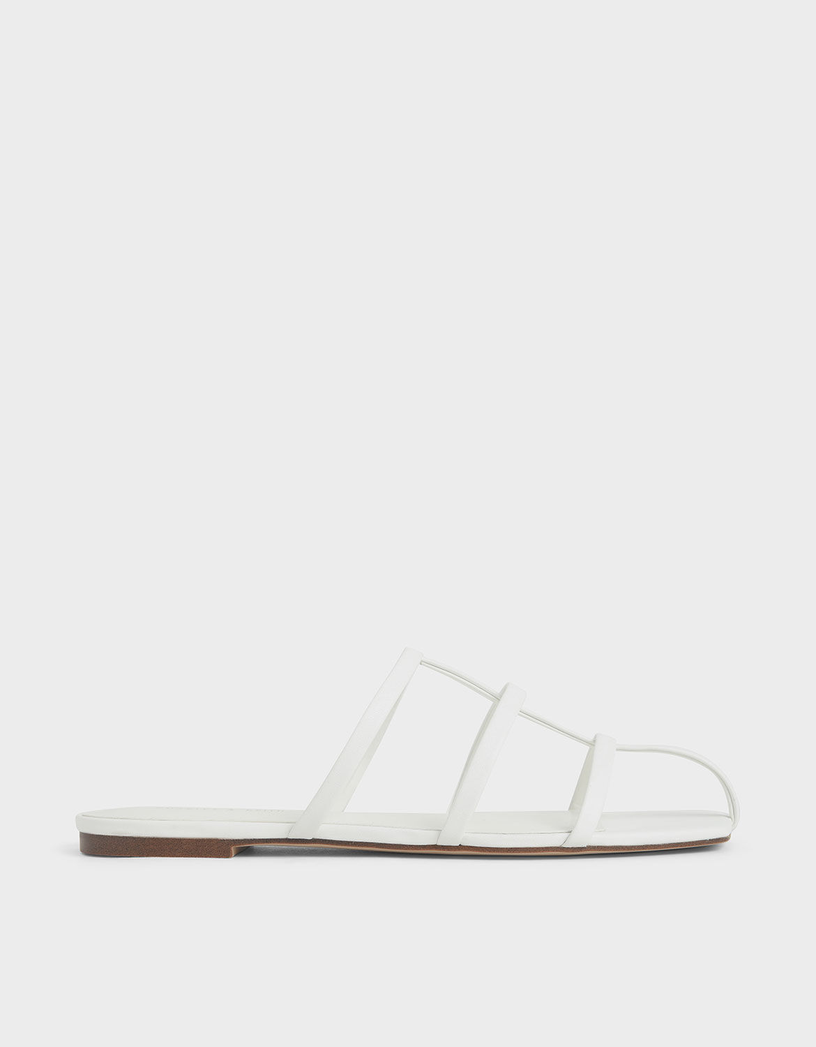 White Strappy Caged Flat Sandals