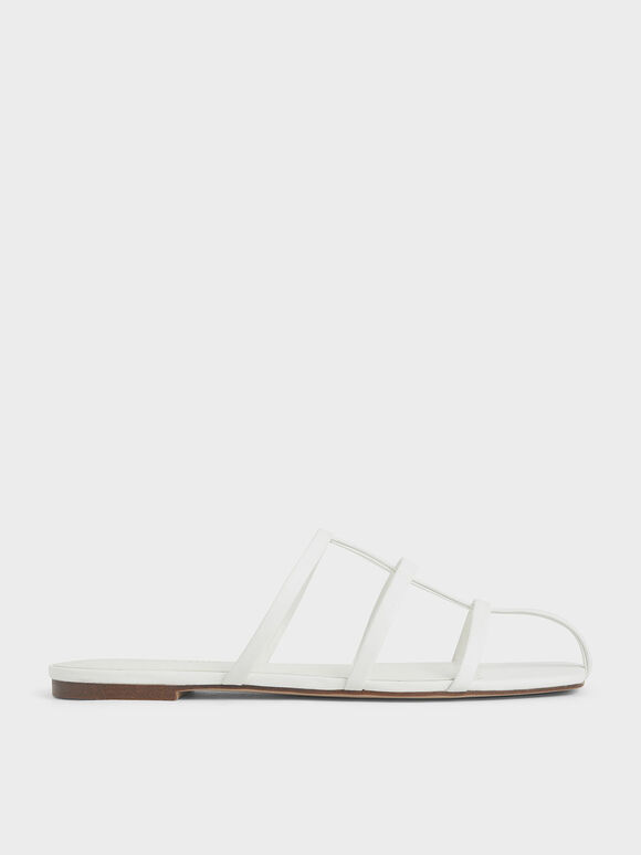 Strappy Caged Flat Sandals, White, hi-res