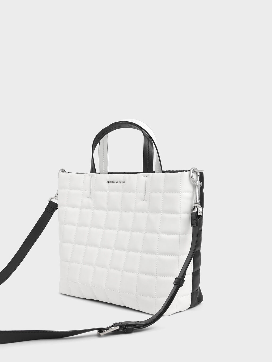 Two-Tone Quilted Short Strap Tote Bag, White, hi-res