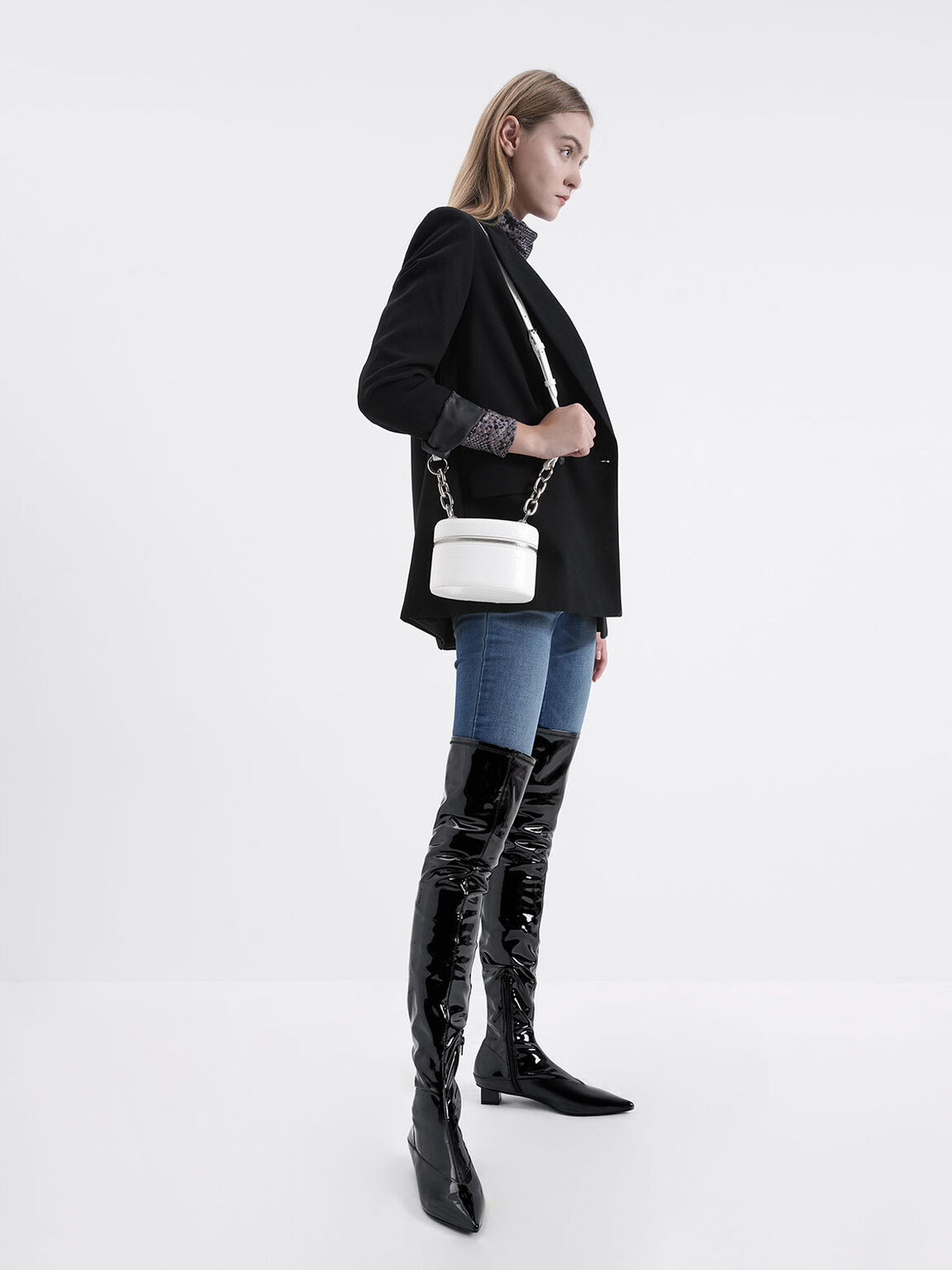 Thigh High Patent Boots, Black, hi-res