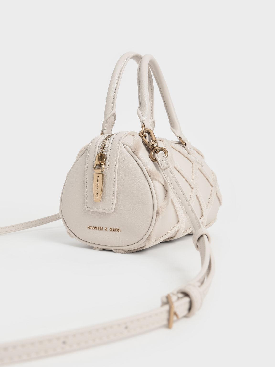Criss-Cross Pattern Top Handle Bag, Ivory, hi-res