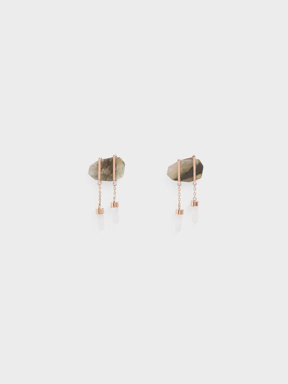 Labradorite Stone Drop Earrings, Rose Gold, hi-res