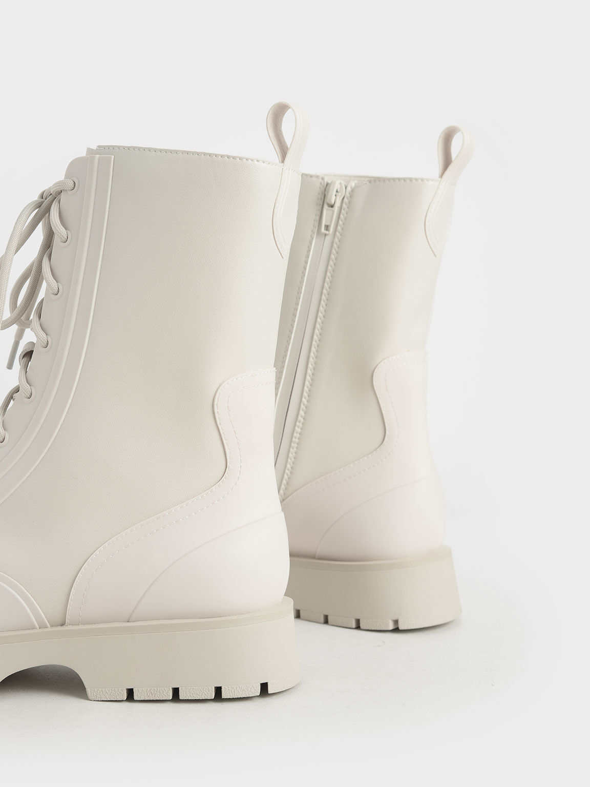 Lace-Up Calf Boots, White, hi-res