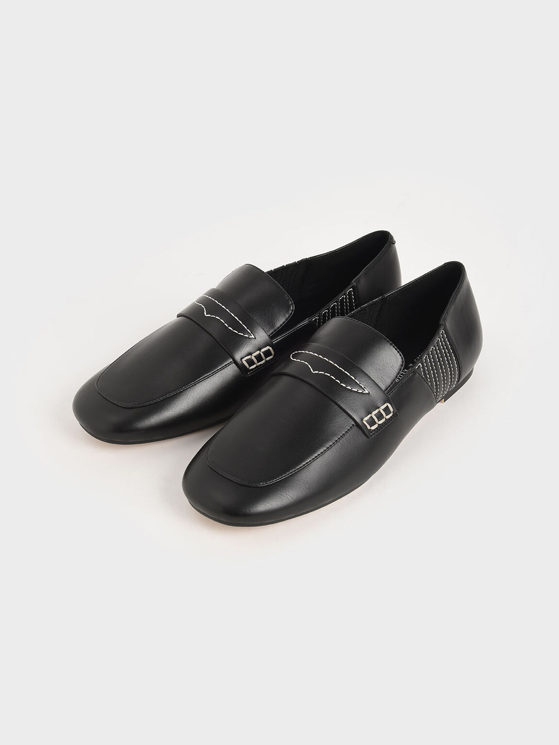 Stitch-Trim Penny Loafers, Black, hi-res