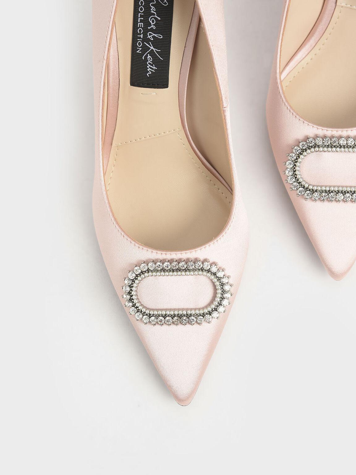 Wedding Collection: Satin Embellished Pumps, Pink, hi-res