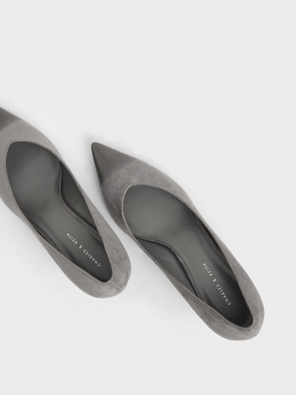 Brushed Effect Textured Sculptural Heel Pumps, Grey, hi-res
