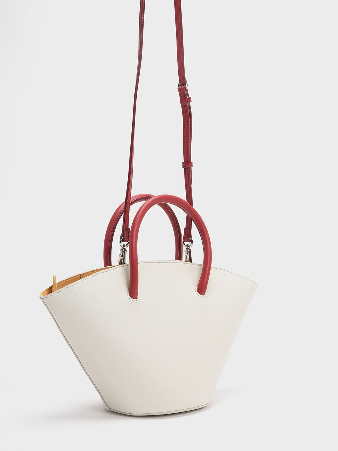 Two-tone Trapeze Tote, White, hi-res