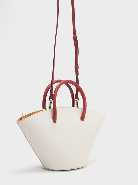 Two-tone Trapeze Tote, White