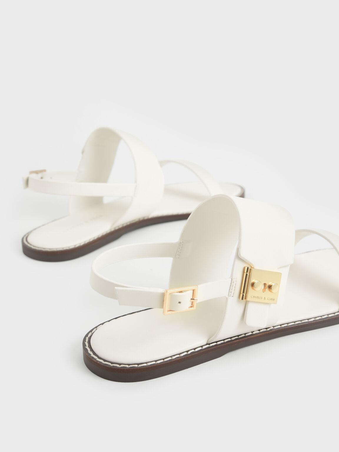 Metallic Buckle Sandals, Cream, hi-res