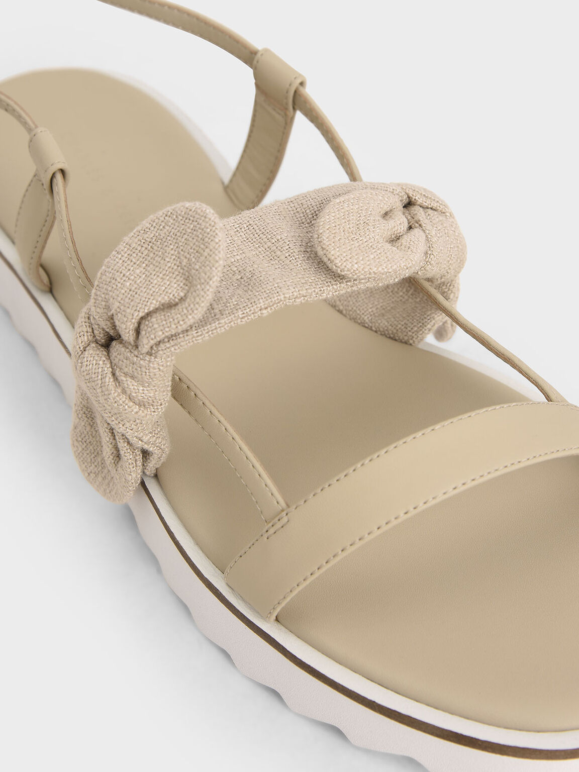 Summer 2020 Responsible Collection: Linen Tie Flatforms, Cream, hi-res