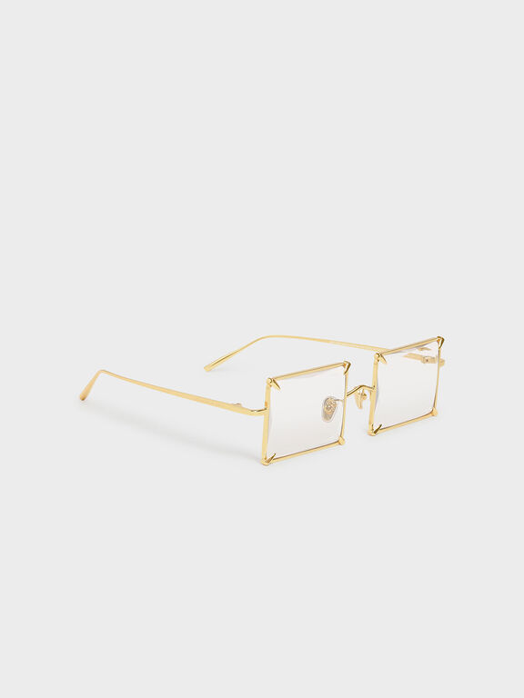 Square Wire Frame Sunglasses, White