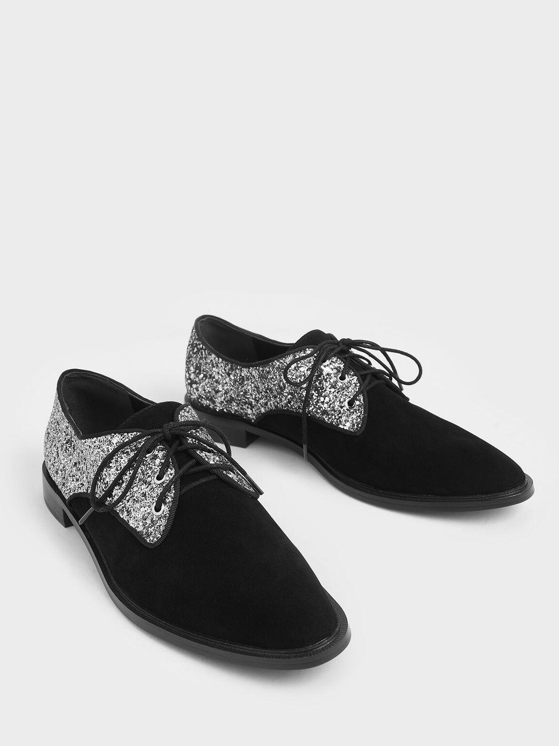 Glitter Derby Shoes (Kid Suede), Black, hi-res