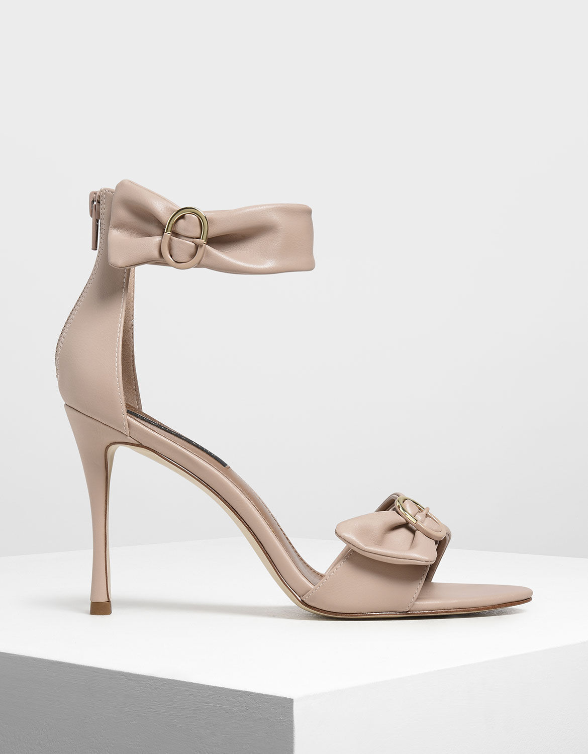 Nude Ruched Two-Tone Buckle Stiletto