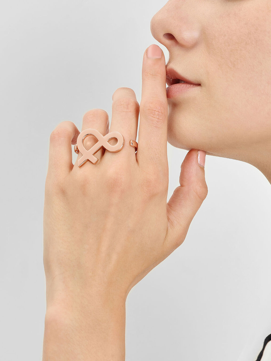 Ampersand Double Ring, Rose Gold, hi-res