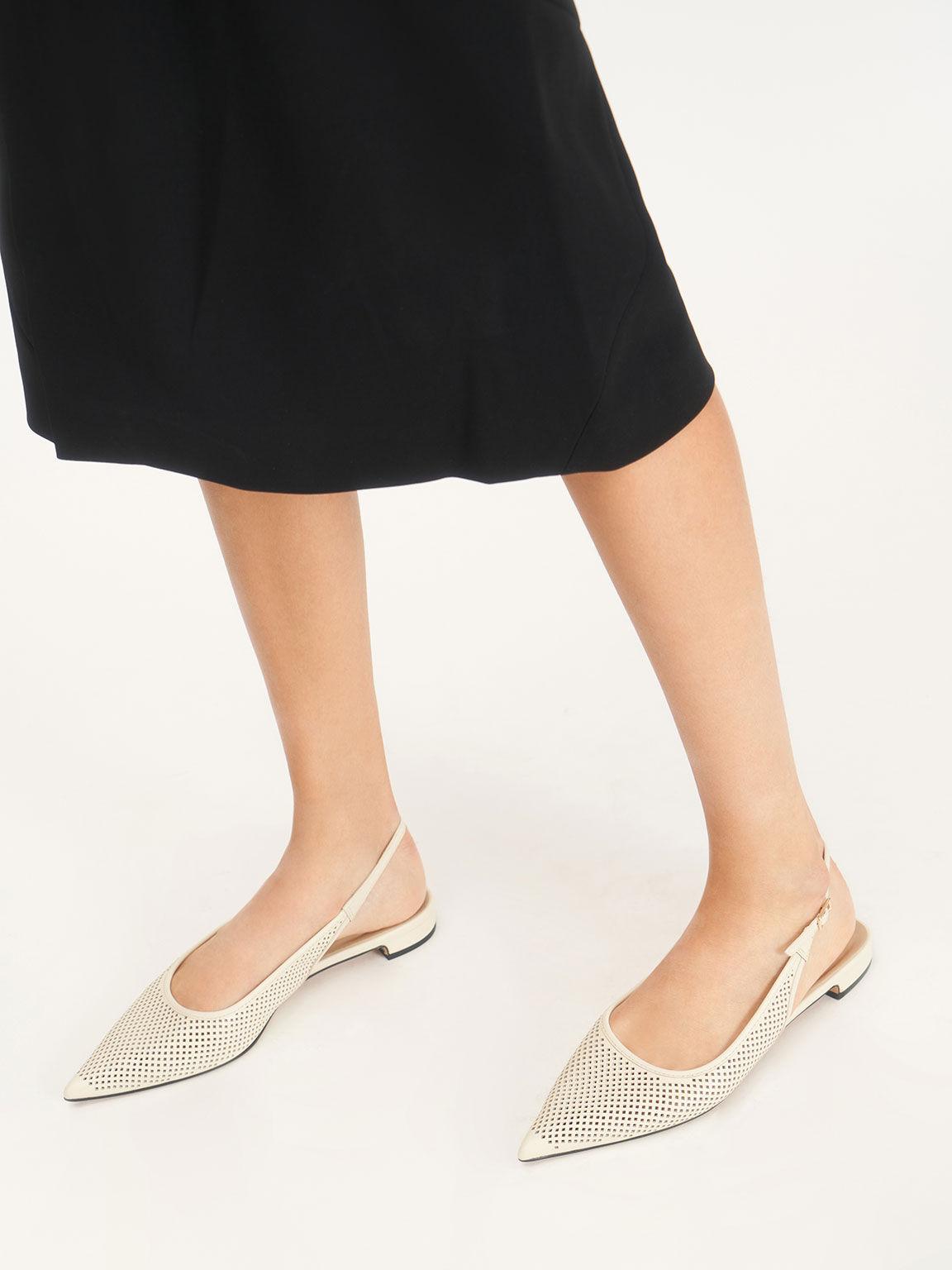 Leather Laser-Cut Slingback Ballerinas, Cream, hi-res
