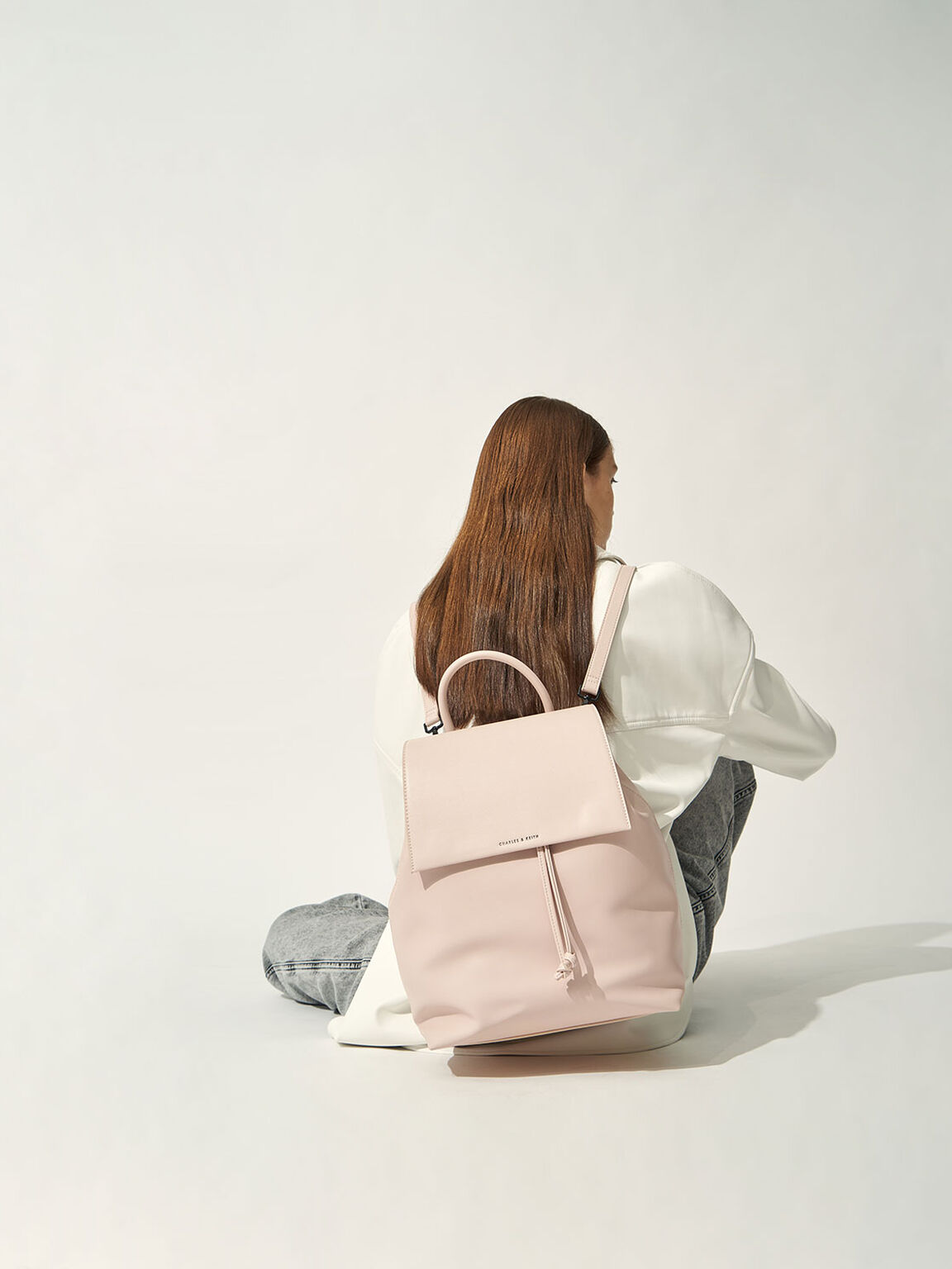 Drawstring Backpack, Pink, hi-res