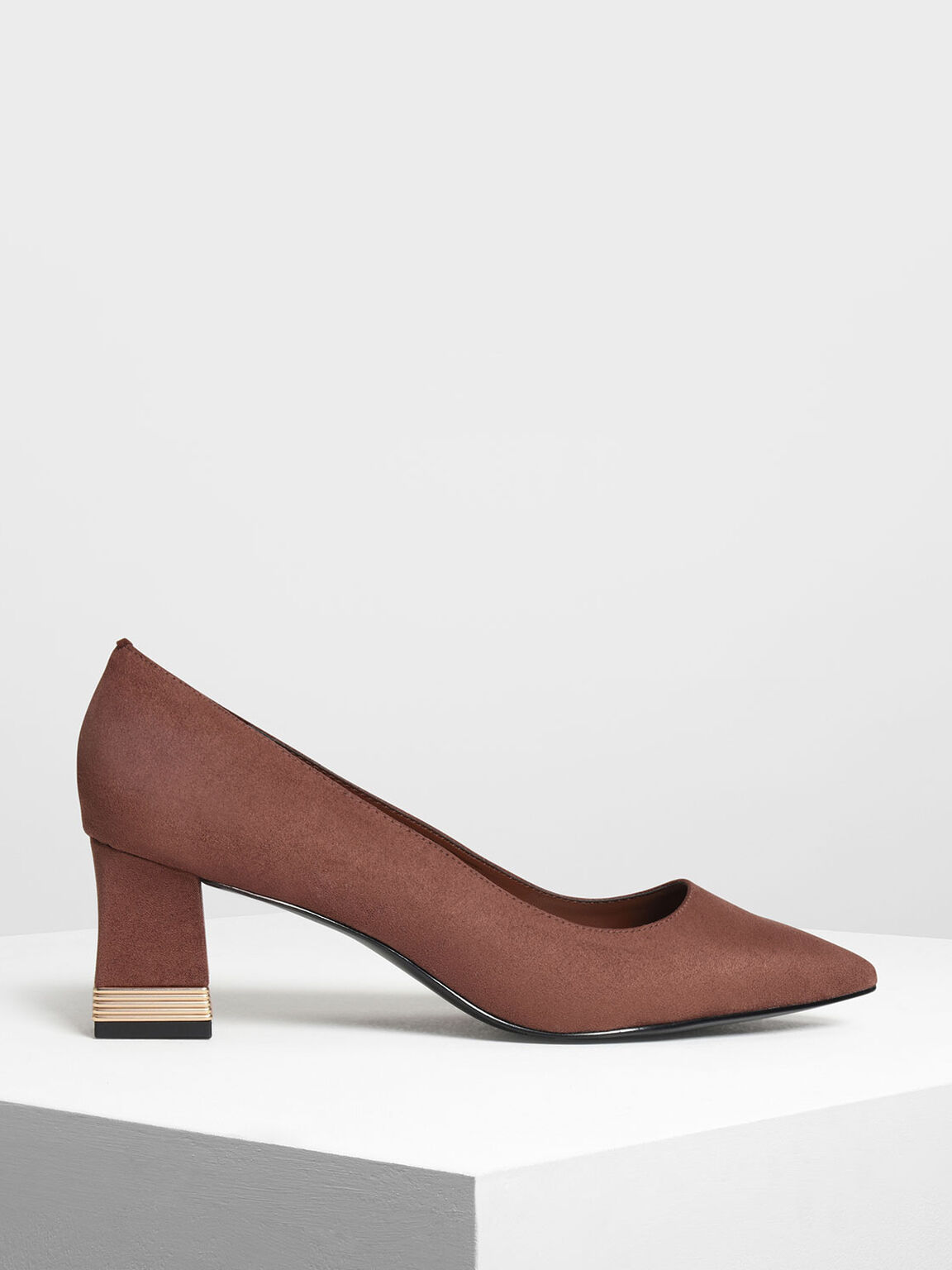 Metallic Accent Heel Pumps, Mauve, hi-res