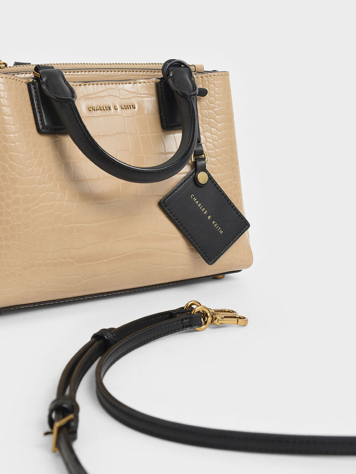 Croc-Effect Structured Bag, Beige, hi-res