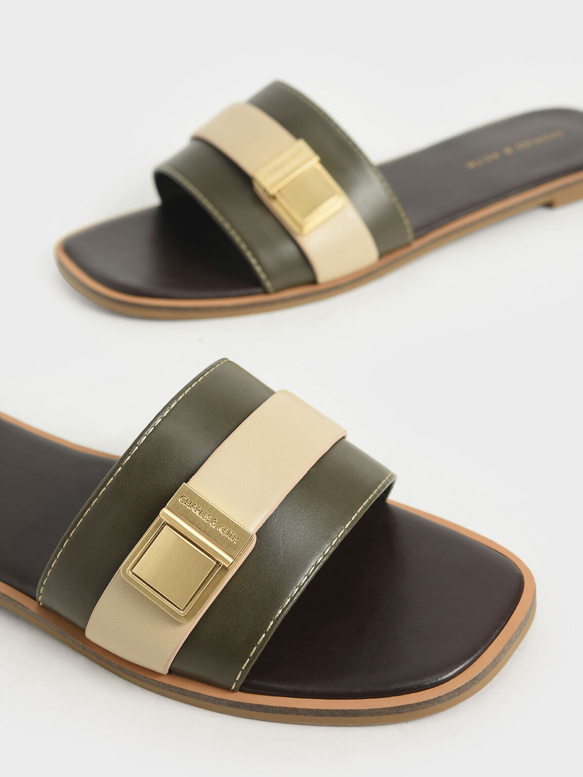 Buckle Detail Slide Sandals, Dark Brown, hi-res