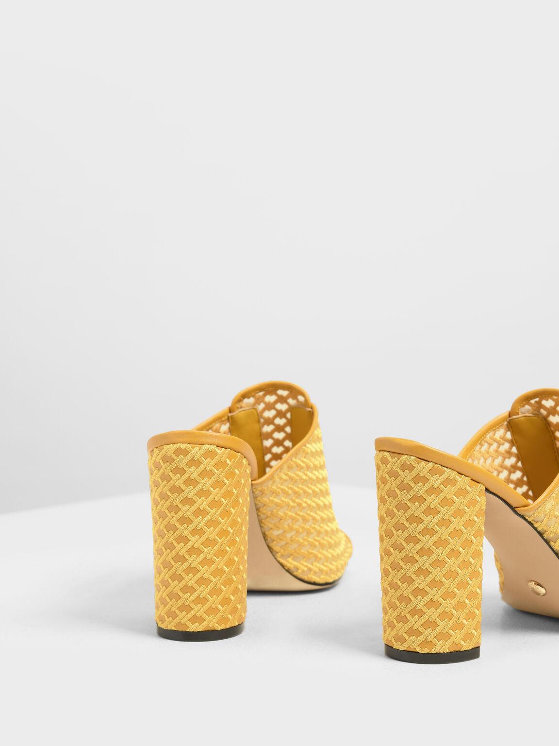 Mesh Block Heeled Slide Sandals, Yellow, hi-res