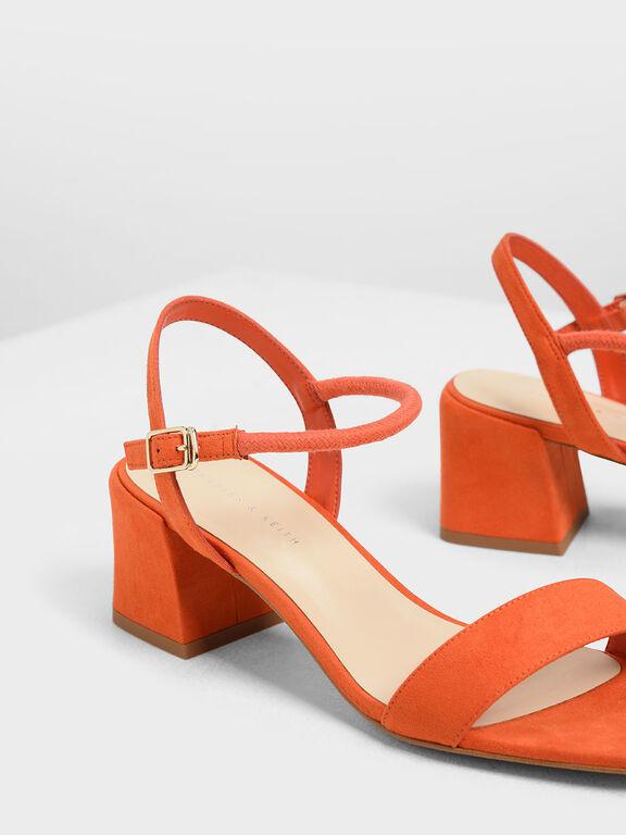 Open Toe Block Heel Sandals, Red
