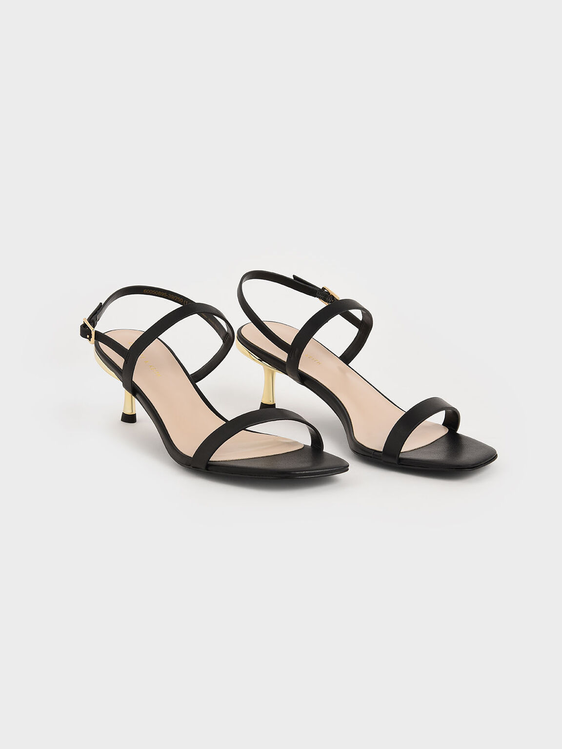 Metallic Ankle Strap Sandals, Black, hi-res