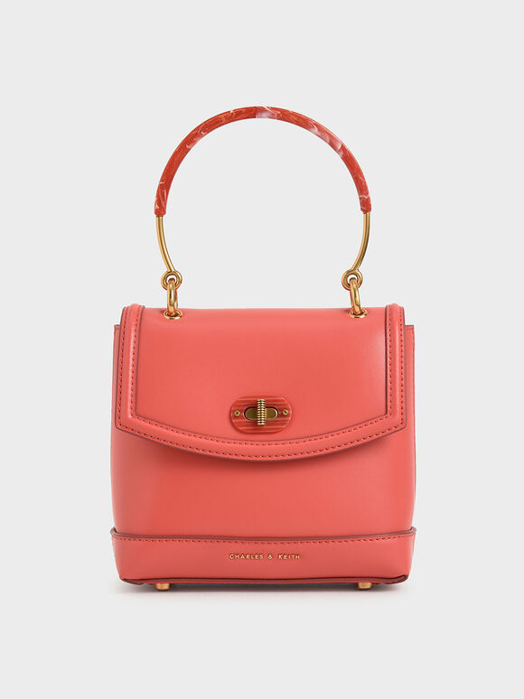 Stone-Embellished Top Handle Bag, Coral, hi-res