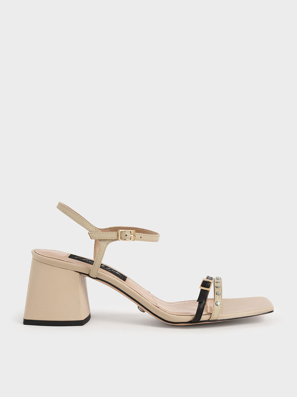 Studded Leather Heeled Sandals, Beige, hi-res