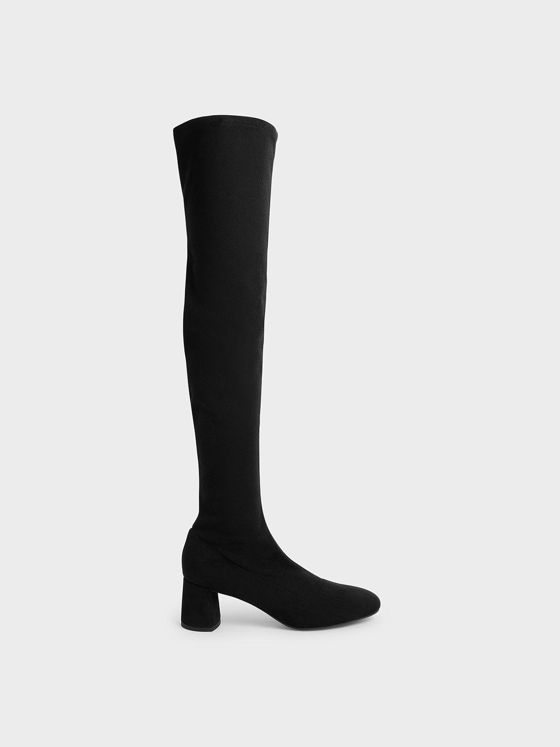 粗跟膝上靴, 黑色, hi-res