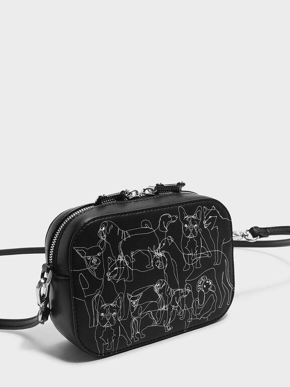 Printed Crossbody Bag, Black
