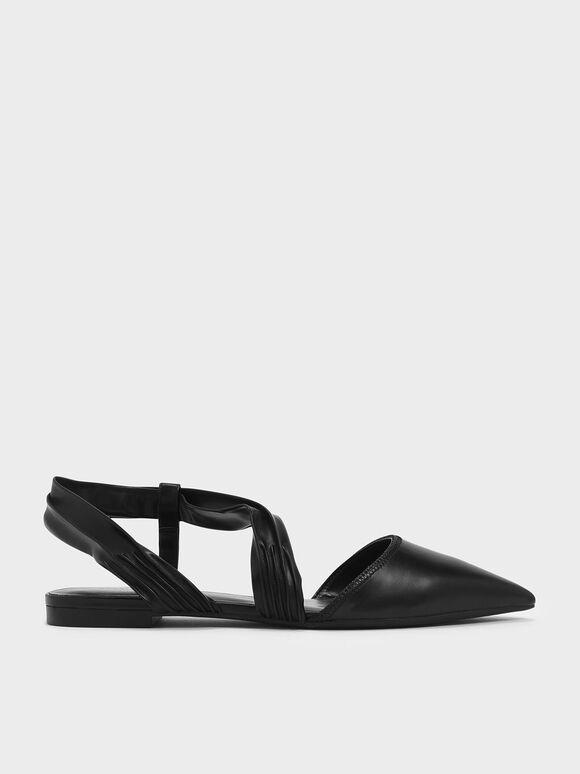 Ruched Strap Covered Flat Sandals, Black, hi-res