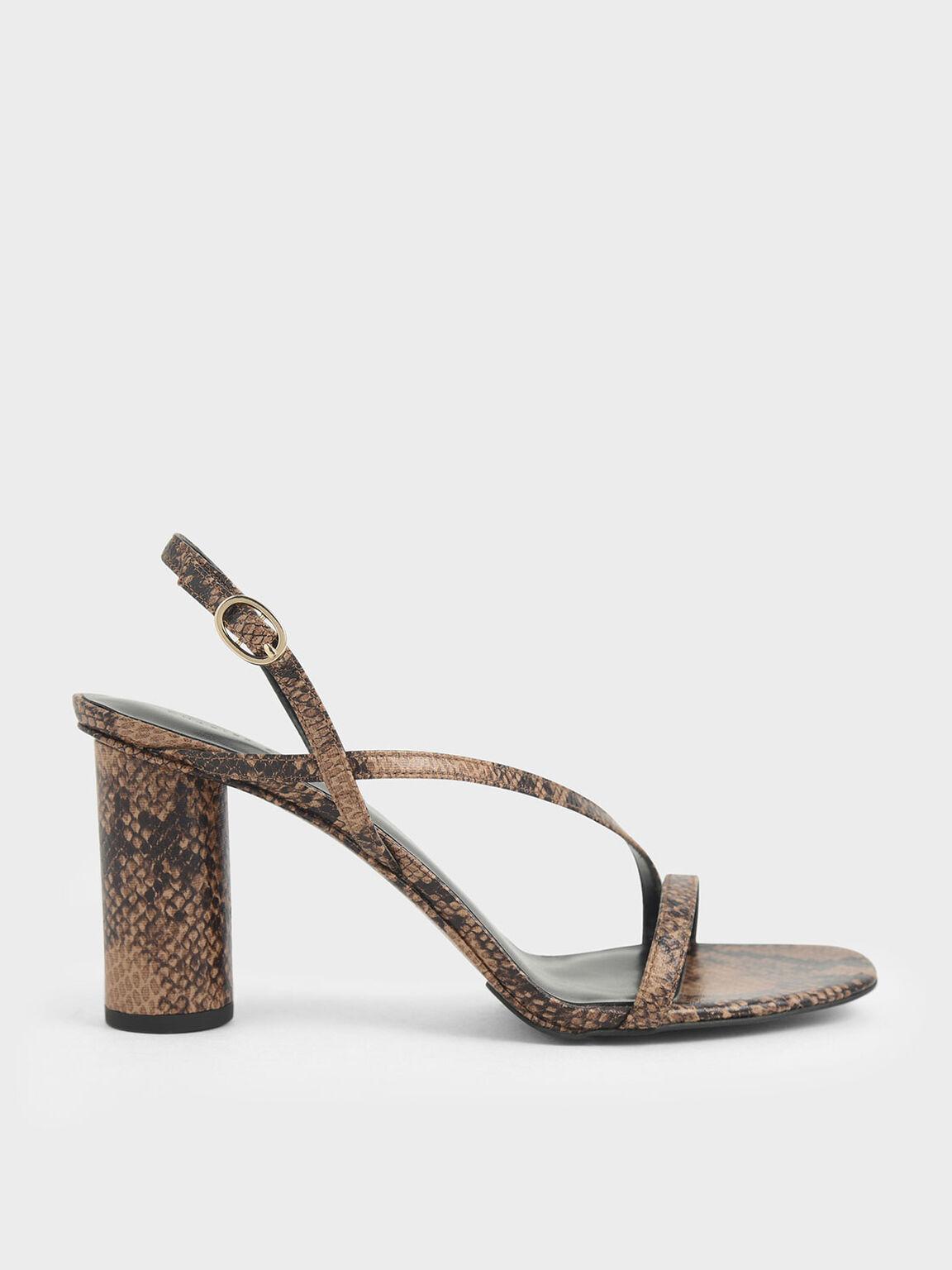 Snake Print Asymmetric Strap Sandals, Brown, hi-res