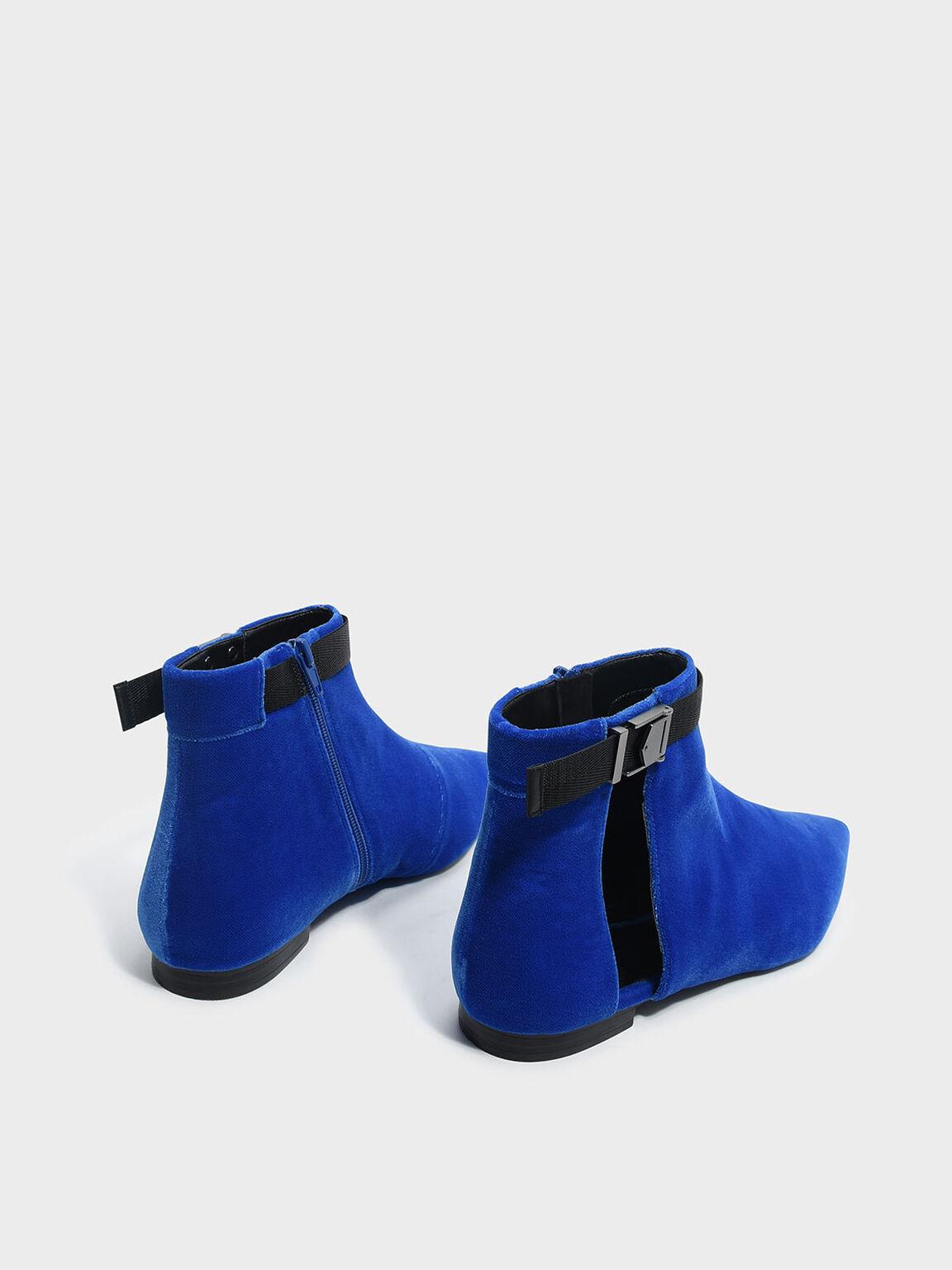 尖頭平底短靴, 藍色, hi-res