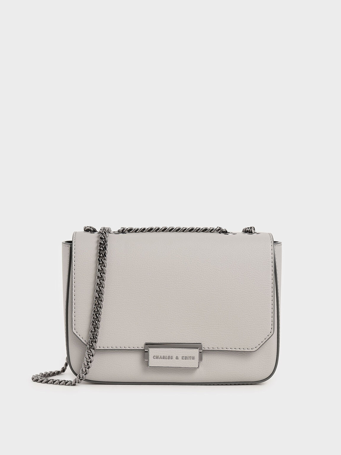 Double Chain Link Crossbody Bag, Grey, hi-res