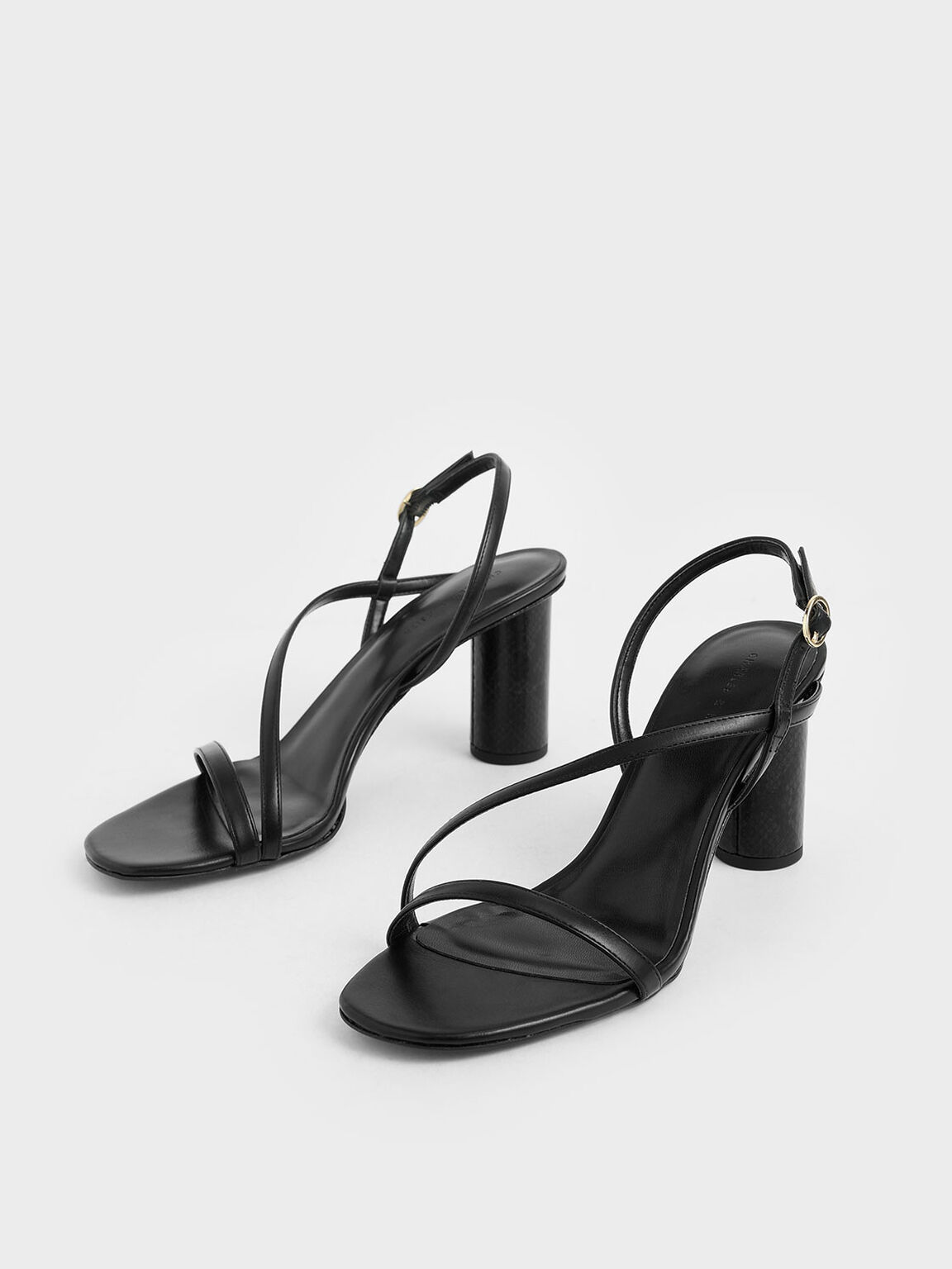 Asymmetric Strap Cylindrical Heel Sandals, Black, hi-res