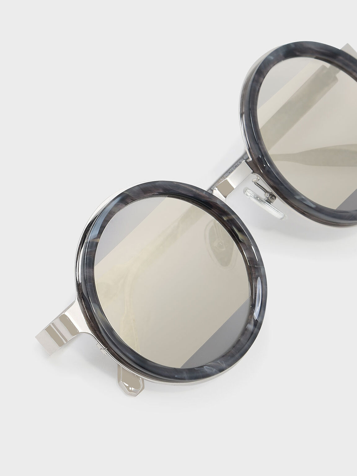 Round Frame Sunglasses, Grey, hi-res