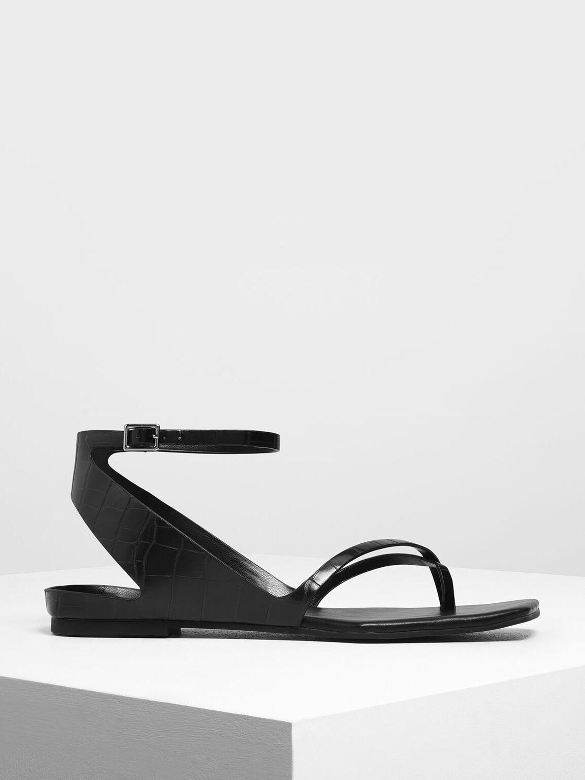 Croc-Effect Ankle Wrap Toe Loop Sandals, Black, hi-res