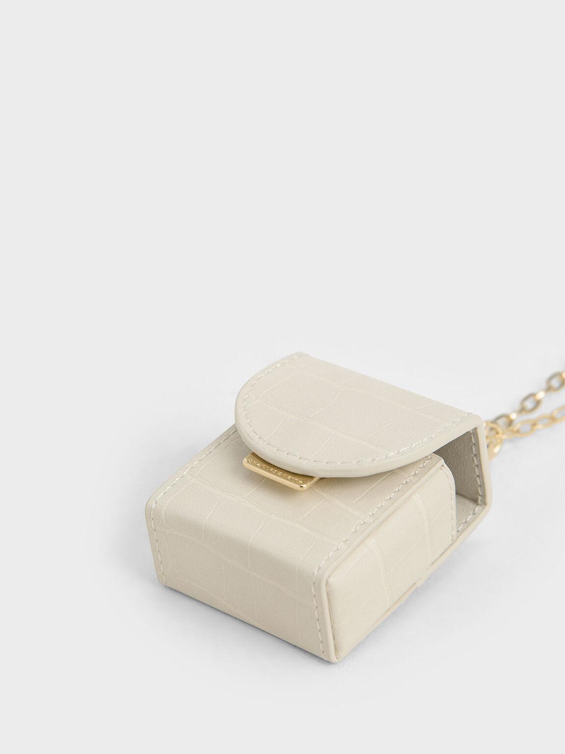 Croc-Effect Airpod Case Necklace, Beige, hi-res