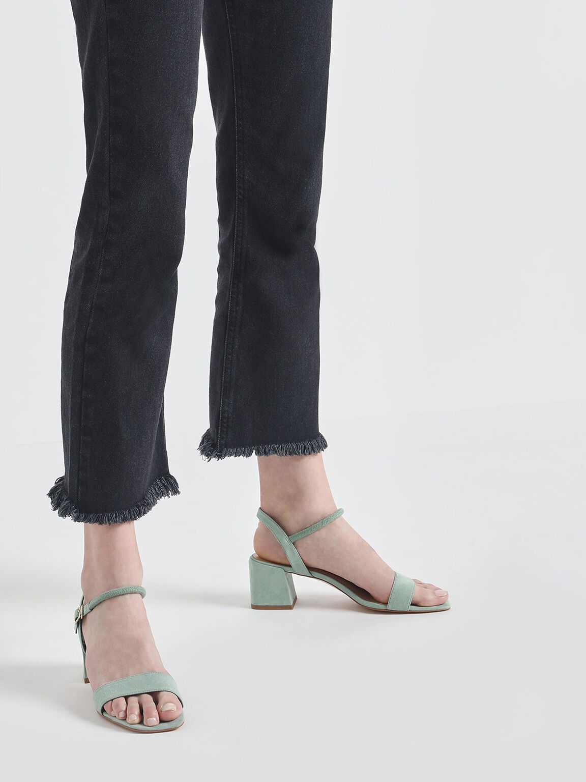 Open Toe Block Heel Sandals, Green, hi-res